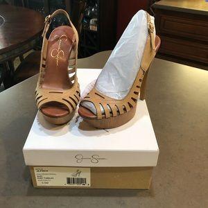 Jessica Simpson Sling Leather Platform Heels